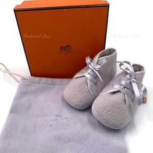 Authenic Hermes Newborn Baby First Shoes Purple